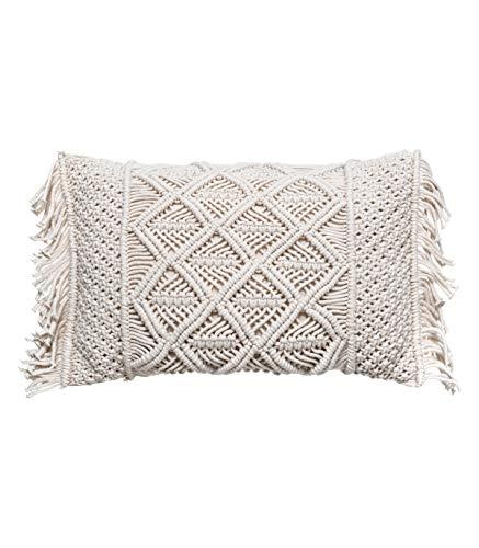 Atmosphera - Macramé cotton cushion with removable cover, 30 x 50 cm