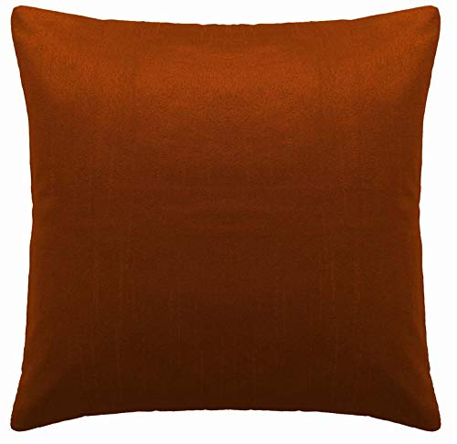Saffron Floor Cushion Cover Decorative Extra Large Pillowcase Rust 28x28 inch (70x70 cm) Polyester Plain Solid Removable COVER, Insert not included