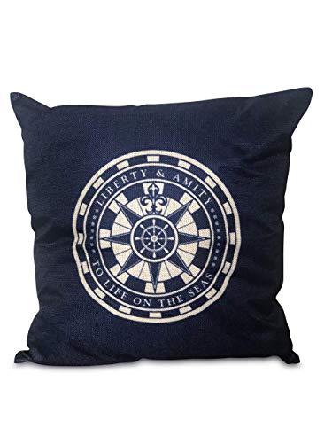 J.T.Hatched Navy Blue Compass nautical design cushion cover beach ship