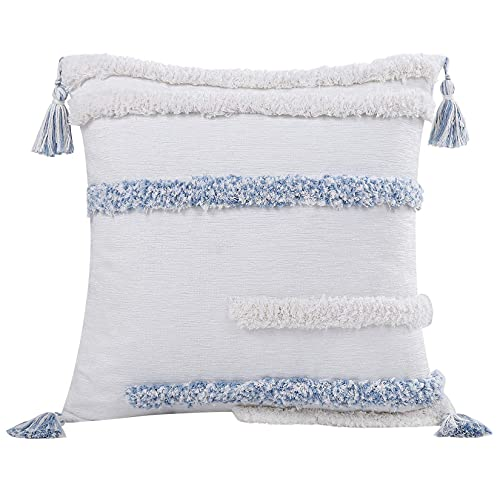 LinTimes Boho Tasseled Cushion Covers Bohemian Indian Embroidered Decorative Square Throw Pillowcase Stripe Design for Bedroom Soft Livingroom 18x18 Inches, 45cmx45cm, 1Pcs