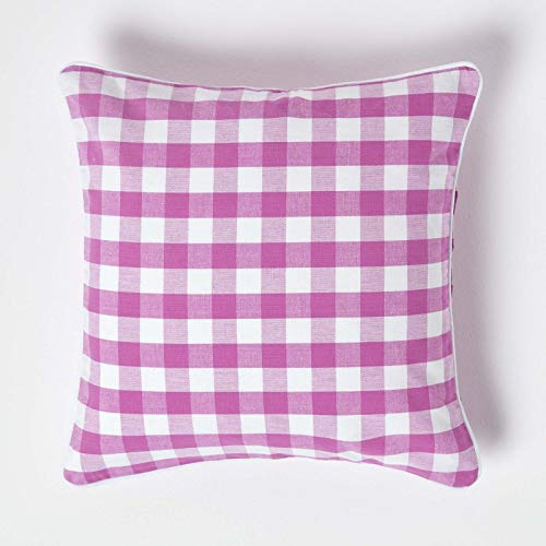 """HOMESCAPES Pink and White Gingham Cushion Cover 45 x 45 cm (18"""" x 18"""") Block Check Pattern 100% Cotton Decorative Square Cushion"""