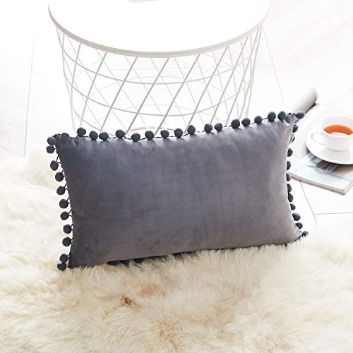Topfinel Grey Oblong Cushion Covers 12x20 Inch Velvet Soft Decorative Throw Pillowcase for Office Sofa Bedroom 30cmx50cm,1 Piece