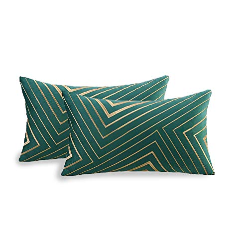 2Pcs Golden Embroidery Velvet Throw Pillow Cover, Soft Velvet Cushion Cover, Golden Lines Embroidered Pattern Decorative Pillowcases for Sofa Living Room Bedroom -12 x 20 Inch - Green