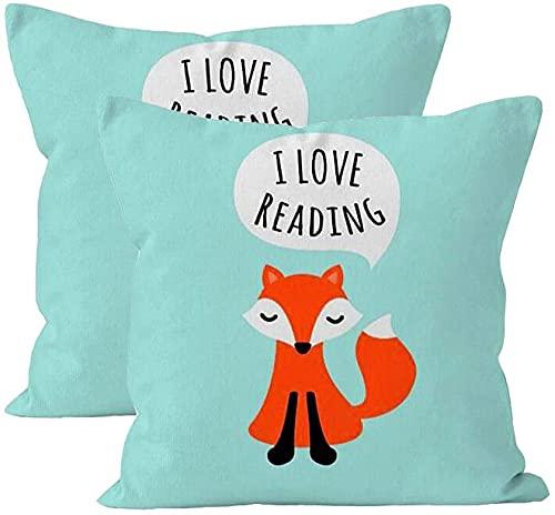 2Pcs Cute Pillowcase Kids Design Aqua Blue Background I Love Reading Girl Throw Pillow 18 X 18 Square Fox Cotton Linen Pillowcase Cover Cushion Fox Pillows
