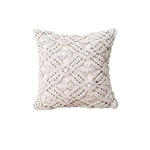 Cushion Covers 100% Cotton Linen Macrame Hand-woven Thread Pillow Covers Geometry Bohemia Style Pillowcase Home Decor 45x45cm-as shown,China