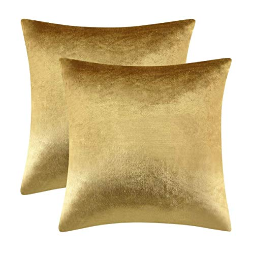 Gigizaza Gold Cushion Covers 50cm x 50cm Velvet Decorative Square Throw Pillowcases for Living Room Sofa Bedroom 20x20 Inches 2 Pack