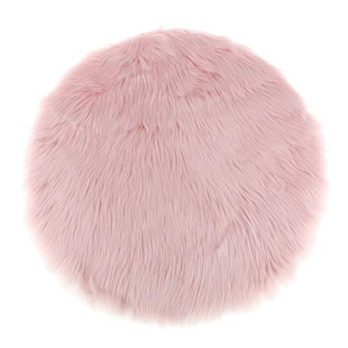 Fenteer Faux Fur Sheepskin Round Car Stool Seat Cushion Floor Mat Furry Sofa Pad - Pink, 30cm