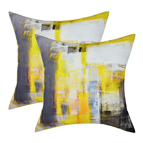 LighSele Throw Pillow Covers Set of 2 Cushion Covers Grey and Yellow Modern Abstract Art Artwork Home Decorative Pillows Covers with Hidden Zipper for Sofa Bed Living Room Bedroom (18' x 18')