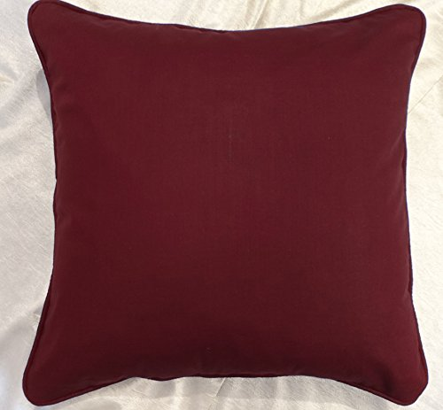 Saffron Floor Cushion Cover Decorative Extra Large Pillowcase Burgundy 32x32 inch (80x80 cm) Cotton With Piping Removable COVER, Insert not included