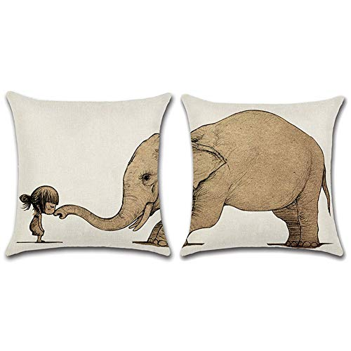 Freeas Pack of 2 Cushion Cover, Girl with Elephant Pattern Cotton Linen Decorative Throw Pillow Case Cushion Cover Pillowcase for Sofa Bed Car (18 x 18 inch)