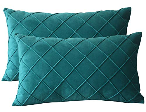Lutanky Velvet Cushion Covers (Pack of 2) Elegant Rectangle Throw Pillow Cases Checked Design Soft Pillow Covers for Sofa Bedroom Home Decoration 12x20 Inch 30 x 50 cm Peacock Green