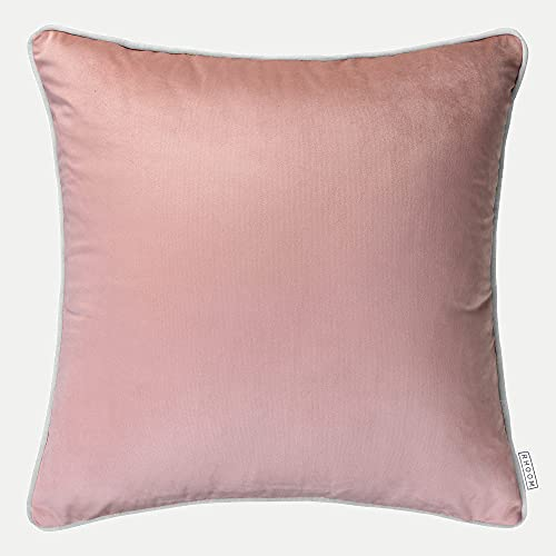 Blush Pink Velvet Cushion Cover with Grey Edge Piping, 55cm x 55cm Large - Home Decorative Square Plush Pillow Case for Sofa, Bed and Chair Cushoo UK