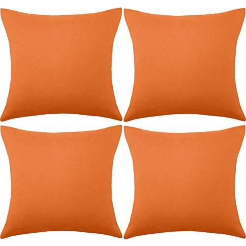 4 Pack Decorative Outdoor Waterproof Throw Pillow Covers, Square Patio Balcony Garden Waterproof Cushion Case, PU Coating Pillow Shell for Couch, Bed, Patio, Sofa, Tent,18 x 18 Inch (Orange)