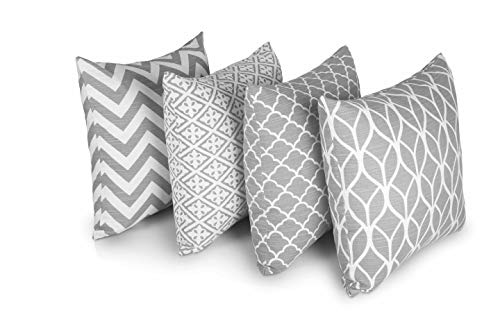 Penguin Home® Decorative Double Sided Square Cushion Covers, 100% Cotton, 45x45cm from Stylish Geometric Pattern for Living Room, Bedroom, Sofa, Couch (Set of 4, Grey)