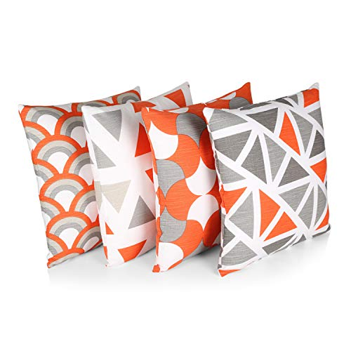 """Penguin Home® 100% Cotton Decorative Double Sided Square Cushion Covers with Invisible Zipper 45cm x 45cm x 18"""" (Set of 4, Orange/Grey Mix), 45 X45 X1 cm"""
