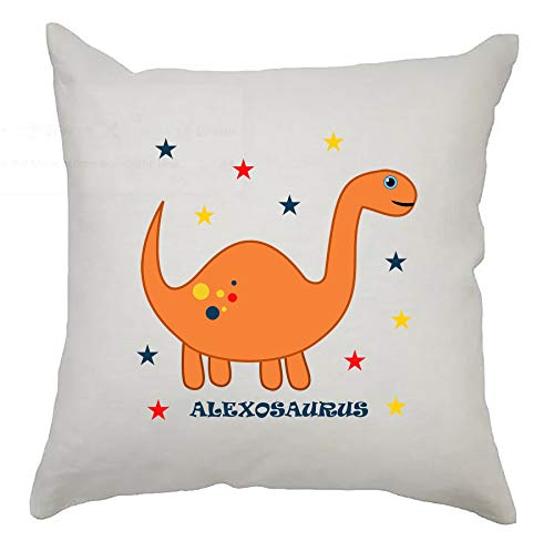 Cute Personalised Dinosaur Cushion Cover 40cm x 40cm Kids Birthday/Newborn gift/Nursery Decoration - Orange