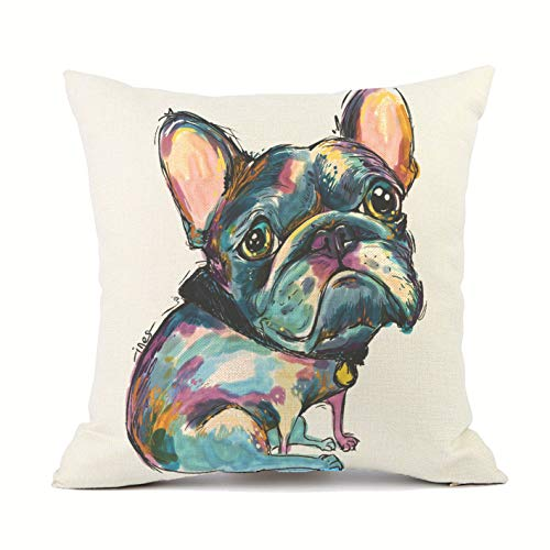 Vioaplem Cute Pet French Bulldog Dogs Pattern Cotton Linen Throw Pillow Case Cushion Cover Home Decor