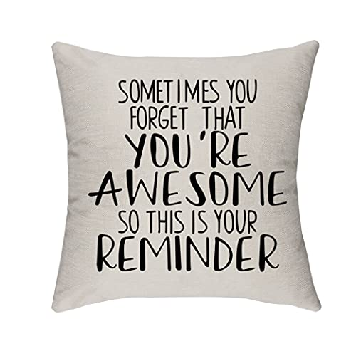 Morges Motivational Quote You're Awesome This is Your Reminder. Pillow Covers, Inspirational Gifts, Family Room Decor, Family Cotton Linen Cushion Cover for Sofa Couch Bed 18' x 18'