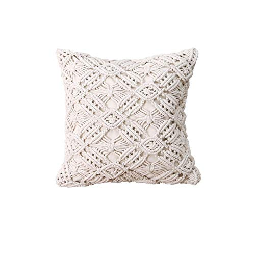 earlyad Boho Cushion Cover, Macrame Pillow Case Cover Decorative Cushion Cover Boho Home Decor Comfy Square Pillow Cases with Tassels for Bed Sofa Couch Bench