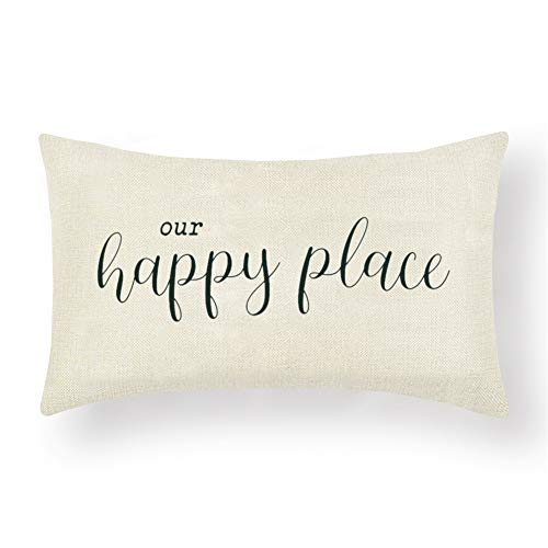 Artscope Farmhouse Lumbar Cushion Covers with Quotes -Our Happy Place -30 x 50 cm Decorative Throw Pillow Covers for Housewarming Gifts Family Room Décor