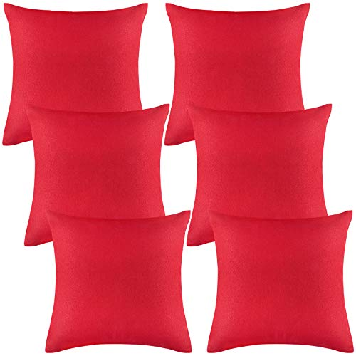 ANECO Pack of 6 Decorative Outdoor Waterproof Throw Pillow Covers Square Patio Cushion Cases Garden Pillowcases for Patio, Couch, Tent, Balcony and Sofa, 18 x 18 Inches, Red