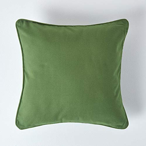 HOMESCAPES - 100% Cotton Plain Dark Olive Green Cushion Cover - 30 x 30 cm Square - 12 x 12 Inches - Sofa Cushion Pillow Cover - Washable