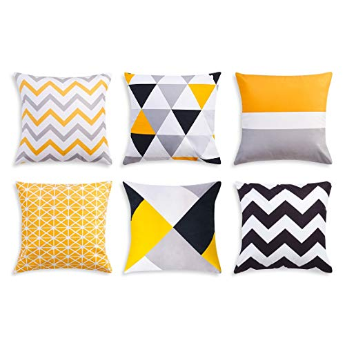 Hivexagon Decorative Cushion Covers 45cm x 45cm Bright Neutral Printed Soft Cushion Covers, Geometric Pillow Case for Sofas, Bedrooms, Living Rooms and Home Decors (Set of 6)