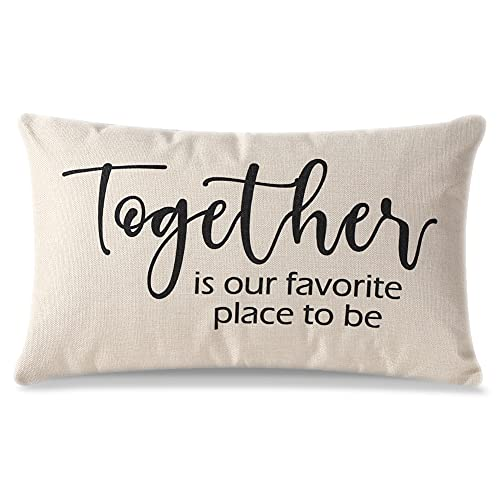 Artscope Farmhouse Cushion Covers with Quotes -Together is Our Favorite Place to be- 30 x 50 cm Decorative Throw Pillow Covers for Housewarming Gifts Family Room Décor