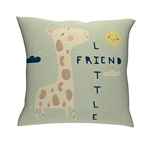 Gamoii friend giraffe cushion covers decorative cushion covers linen cushion cover pillow case seat cushion covers fashion decorative cushion cover with hidden zipper for home home decor, linen, White, 45 x 45 cm