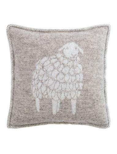 J.J. Textile Woolly Sheep Pure Wool Reversible Cushion Cover Soft Brown