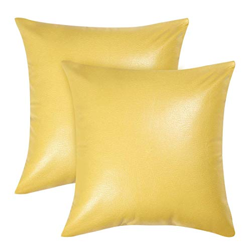 2 x Faux Leather Square Cushion Covers, Decorative Cushion Cover for Sofa Bed, Durable Cushion Cover 18 x 18 Inches, Lemon Yellow