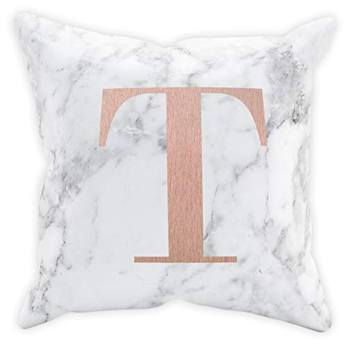 FunkyShirt Custom Initial Marble Cushion Cushions with Covers Included Pillow Case Covers Copper Cushion Grey Cushions Black Cushions Modern Cushion Covers Home Decor