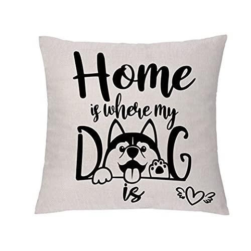 GHORIHUB Pet Love Throw Pillowcases Funny Cushion Covers Home Is Where My Dog Is Pillow Case Linen 45x45cm Decoration for Living Room Bedroom