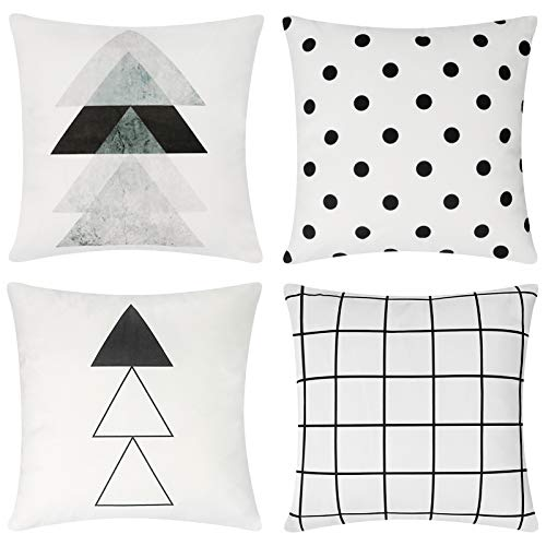 pendali Cushion Covers, Modern Simplicity Decorative Velvet Soft Pillowcases with Double Sided Pattern 18x18 Inch Throw Pillow Case, Set of 4 Pillow Cover for Living Room Sofa Chair Couch (White)