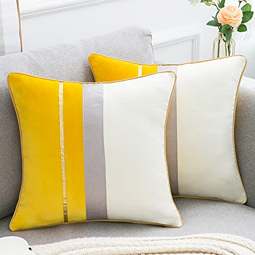Velvet Cushion Covers 45cm x 45cm Yellow White Patchwork Throw Pillow Covers with Gold Leather Striped Luxury Modern Square Pillowcases for Sofa Couch Bed Decorative Pillow Cases Pack of 2