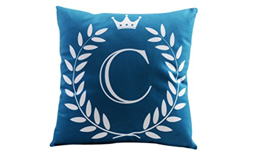 """ZUODU 45X45CM Letter Crown Printing Peach Skin-Like Decorative Pillow Cover Cushion Cover 18x18"""" Free Combination (Letter C)"""