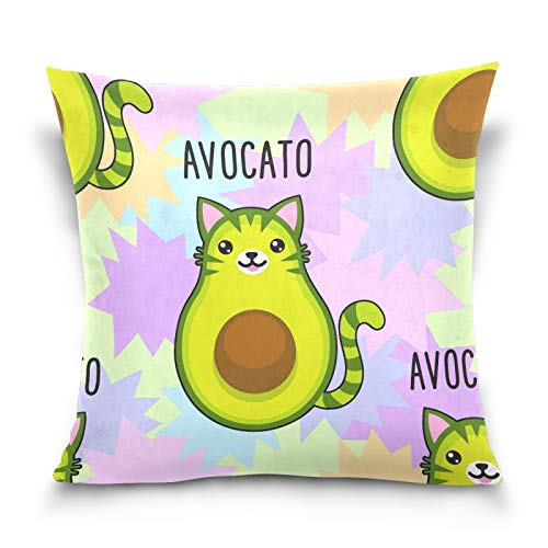PUXUQU Throw Pillow Cover 16x16 inches Cute Cartoon Avocado Cat Decorative Square Throw Pillow Case Cushion Covers for Couch Sofa Bedroom Car