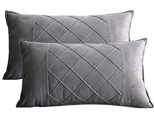 Lutanky Velvet Cushion Covers Grey Decorative Rectangle Throw Pillow Cases Patchwork Design Soft Pillow Covers for Sofa Bedroom Home Accessories 12x20 Inch 30 x 50 cm (Pack of 2)
