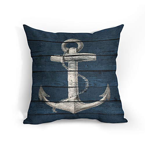 Nautical Anchor with Vintage Wood Cushion Covers Summer Coastal Sailing Throw Pillow Covers Navy Blue Decorative Pillowcase Double Sides Pattern 18x18 for Sofa Bedroom Living Room Patio Balcony