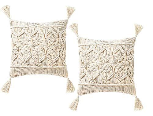 OMG-Deal 2pcs Beautiful Bohemian Cushion Cover Macrame Cushion Cover Wedding Decor Throw Pillow Cover 18 x 18 inches Gift Set