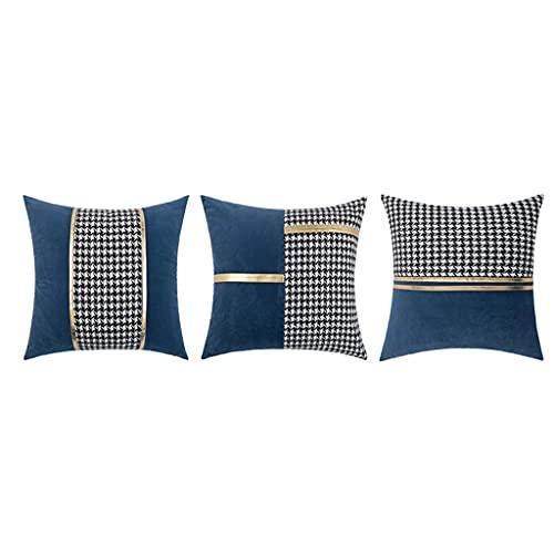 KAINUYA Fashionable Sofa Cushion Set of 3 Cushion Covers,Throw Pillow Covers,Cushion Covers,Outdoor Throw Pillow Case for Outdoor Patio Garden Blench Living Room Sofa 45 * 45cm (Color : Blue)