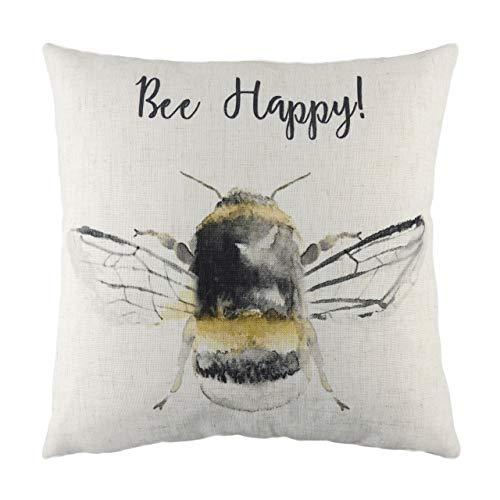 Evans Lichfield Bee Happy Cushion Cover, White, 43 x 43cm