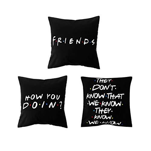 honglilai 3PCS 18x18 inch Black Sofa Polyester Home Decor Friends TV Show Cushion Cover Pillow Covers Pillow Cases (3PCS SET 1 3 7)