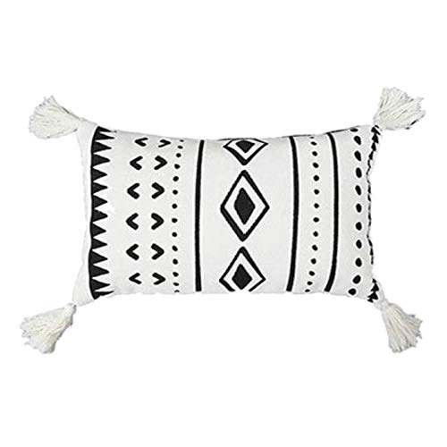 Decorative Cushion Covers for Sofa, Boho Small Lumbar Throw Pillow Covers with Tassels Tufted, Rectangle Pillowcases for Bedroom Livingroom Home Decor Pillow Case 30x50cm