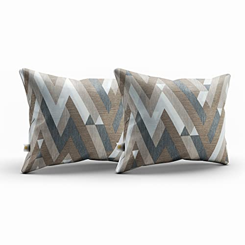 Bemitus - Pack of 2 Printed Cushion Cover - Pillow Cotton and Polyester - Handmade in Spain - Oeko-Tex Certified Hypoallergenic No Filling, Decorative for Sofa (Zigzag Brown, 40 x 60 cm)