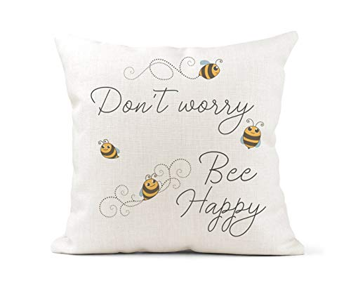 Tr73ans Fun Quote Cream Canvas Cushion, Scatter Cushion, Home Decor, Inspirational, Don't Worry Be Happy, Bee Lover, Cute Bees