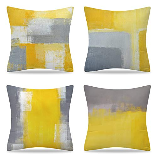 YuhooTech Set of 4 Yellow Cushion Covers Outdoor Furniture Decorative Throw Pillow Covers 45x45 cm Square Single-Sided Printing Pillow Cover for Home Office Sofa Couch Car Garden