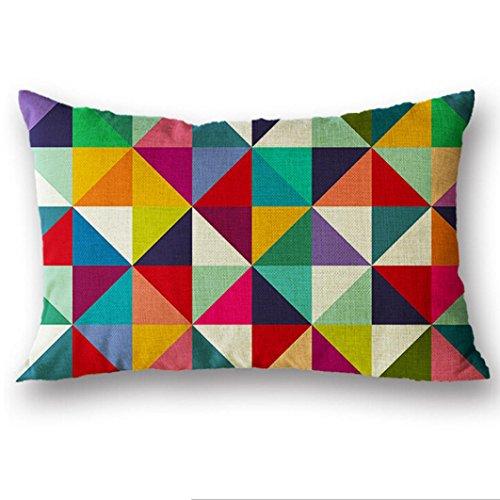 HUHU833 30x50cm Cushion Cover, Rectangle Printed Silk Throw Pillow Case (F)