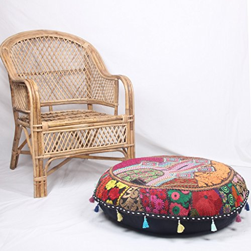 Jaipur Textile Hub Patchwork Cotton Boho Chic Bohemian Hand Embroidered Round Floor Pillows & Cushion Cover Seating Pouf Ottoman (Black, 18 inch Approx)