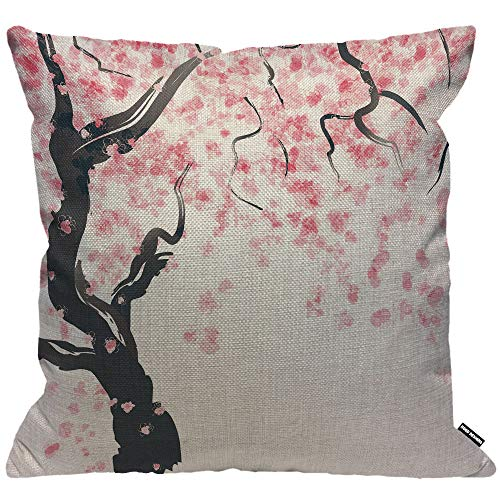 HGOD DESIGNS Cushion Cover Japanese Cherry Blossom Tree,Throw Pillow Case Home Decorative for Men/Women Living Room Bedroom Sofa Chair 18X18 Inch Pillowcase 45X45cm